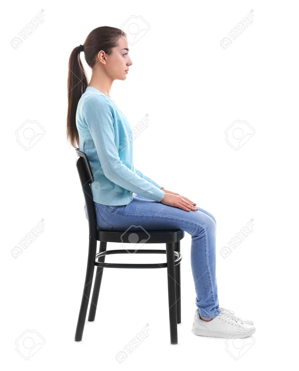 Posture Concept Young Woman Sitting On Chair Against White 1049x1300