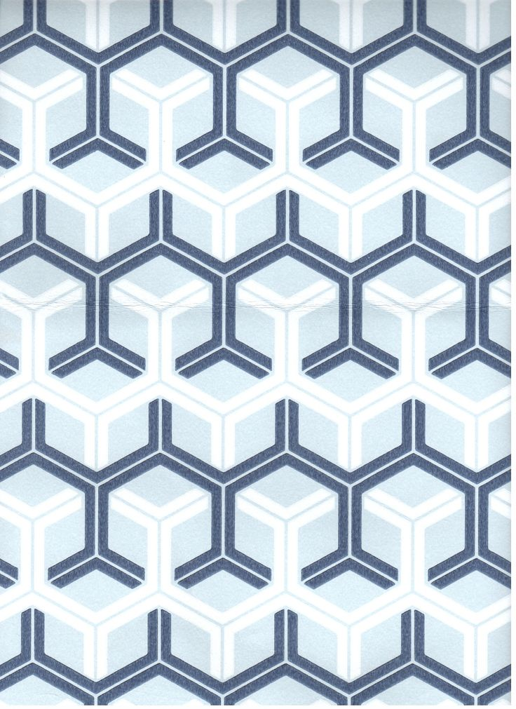 Geometric Navy Blue and White Wallpaper for Ceiling by Kristi Lei 736x1011