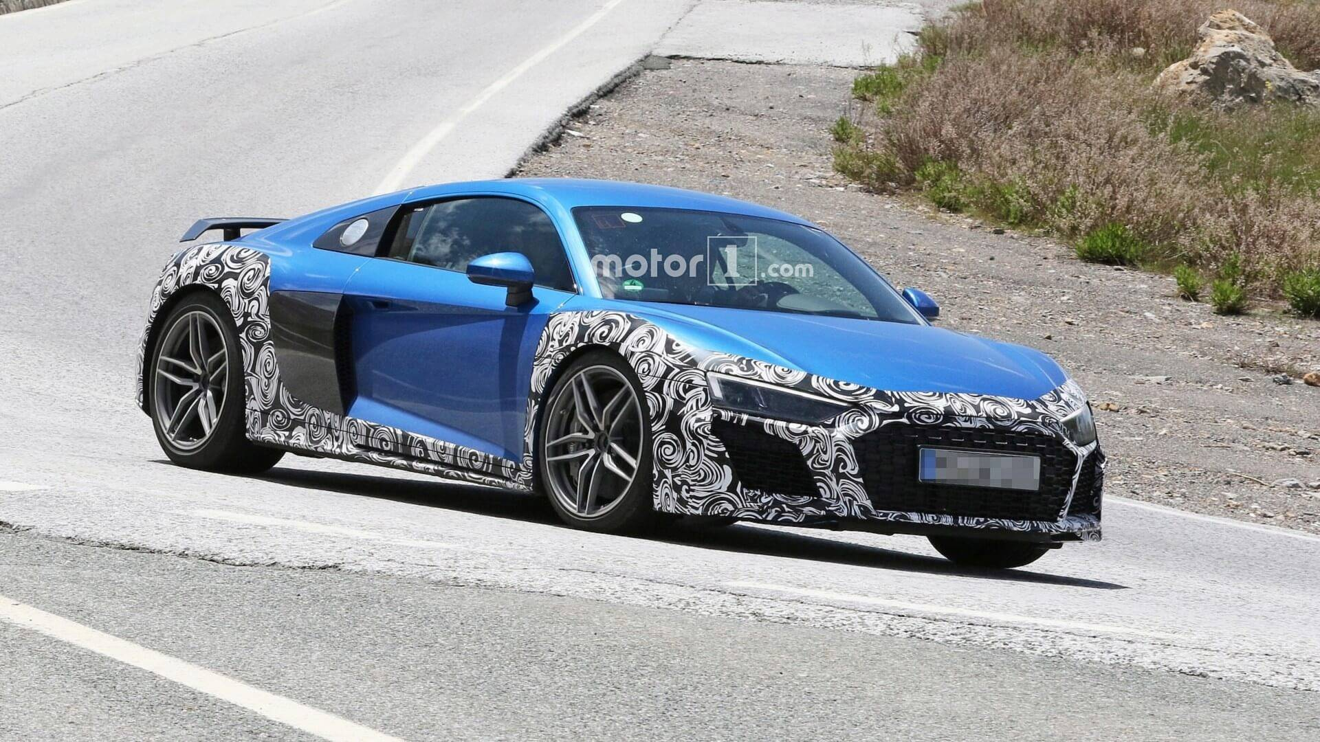 Audi R8 Spied With New Bumpers Oval Exhaust Tips Could Be GT Model 1920x1080