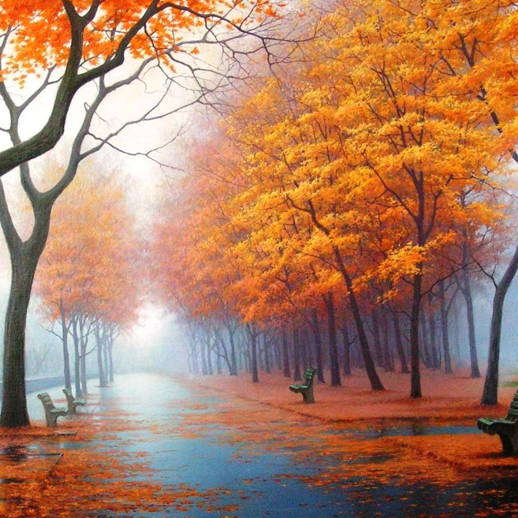 Autumn Road iPad Wallpaper Download iPhone Wallpapers iPad 1024x1024