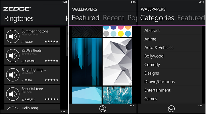 features set ringtones and wallpapers directly from the app browse 720x399