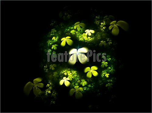 illustration of a four leafed clovers field on black background 500x374