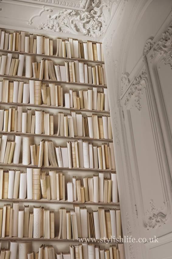 Vintage Ivory Library Bookshelf Wallpaper 566x850
