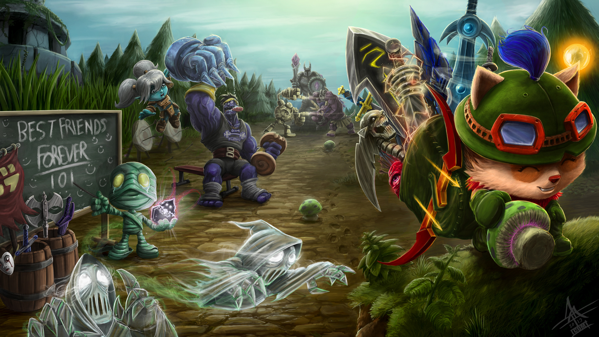 Free Download Alistar Teemo League Of Legends Game Hd Wallpaper