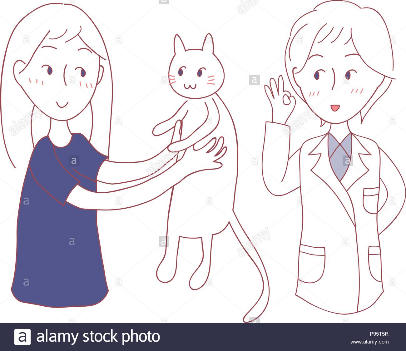 Girl bring Cat to meet Vet Vector Illustration isolated on White 1300x1124