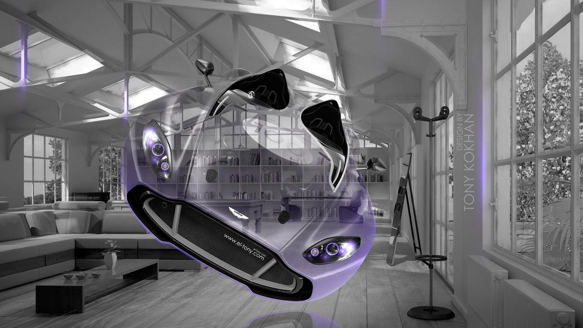 Aston Martin CC100 Fantasy Crystal Home Fly Car 2014 Violet Neon HD 1920x1080