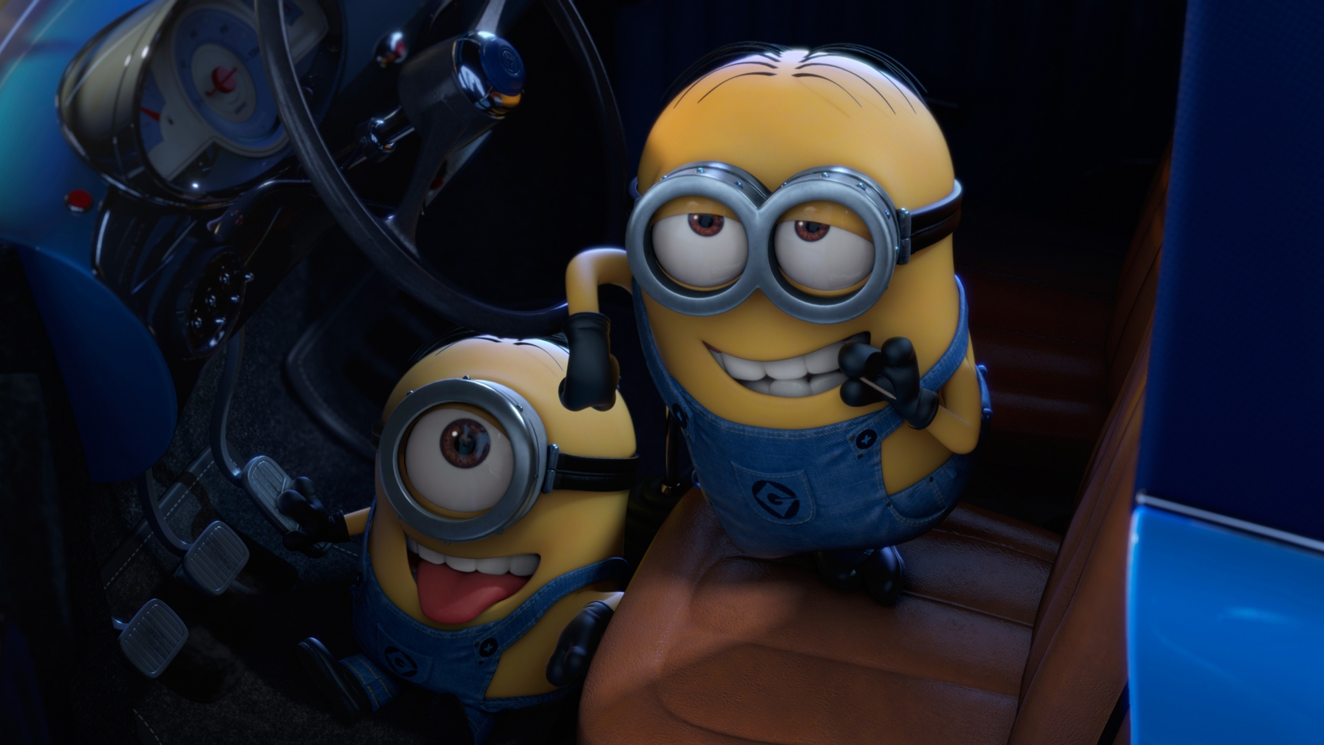 Download Minions glory in Car Wallpaper in 1920x1080 Resolution 1920x1080