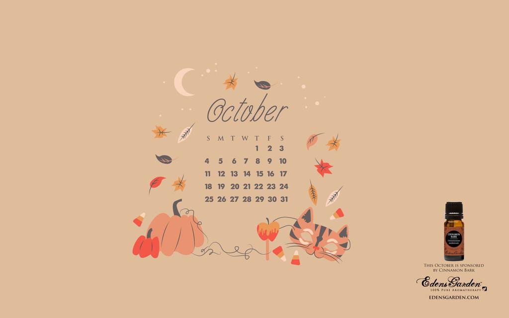 October 2015 Desktop Wallpaper Calendar Edens Garden 1024x640
