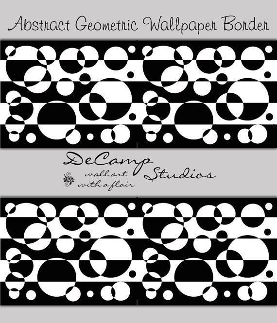 Black White Wallpaper Borders Geometric Wallpaper Bedroom Ideas 570x665