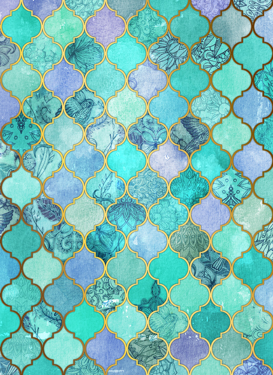 Cool Jade Icy Mint Decorative Moroccan Tile Pattern Art Print by 550x754