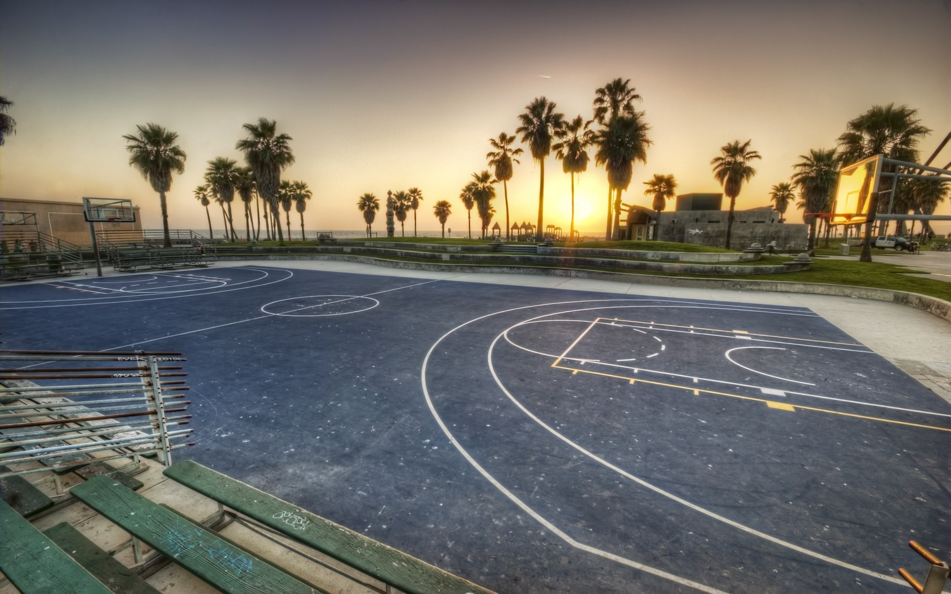 Download Venice beach ca sunset basketball los angeles california 1920x1200