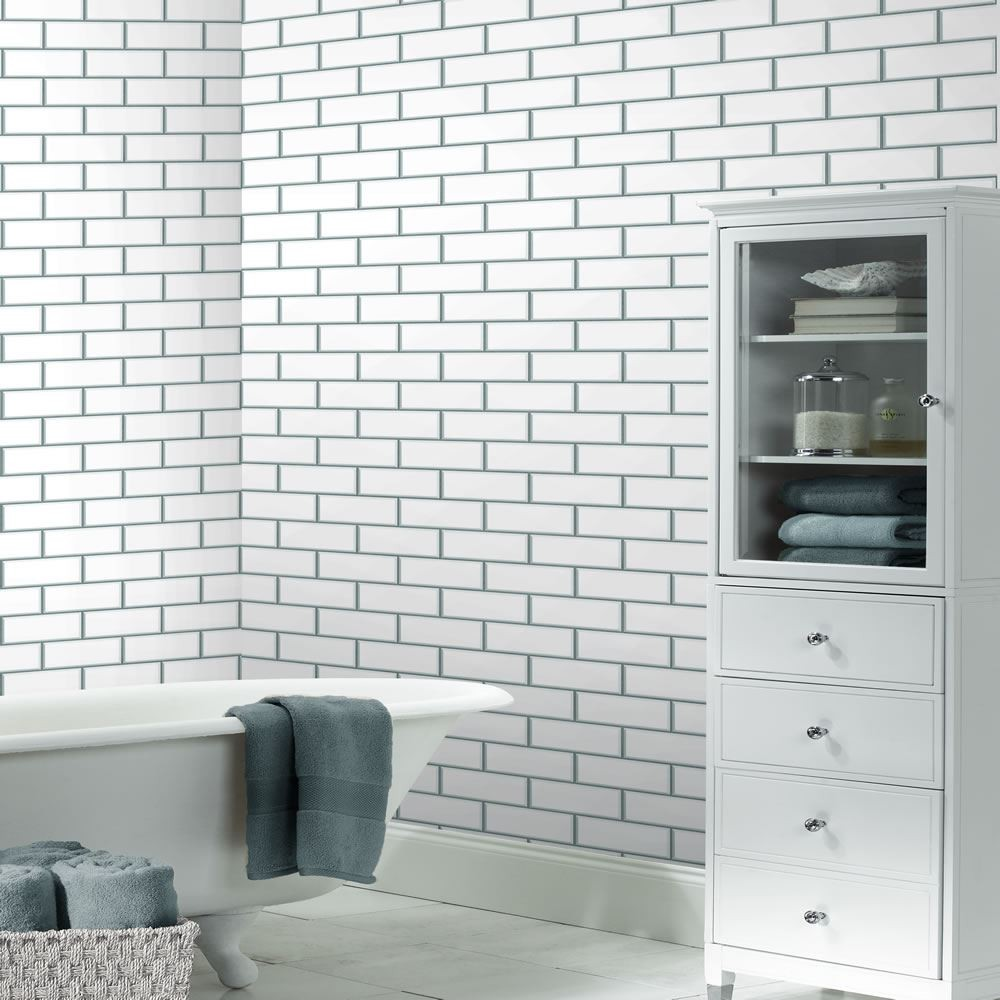 Supplies White Silver   FD40136   Ceramica   Brick   Tile   Subway 1000x1000