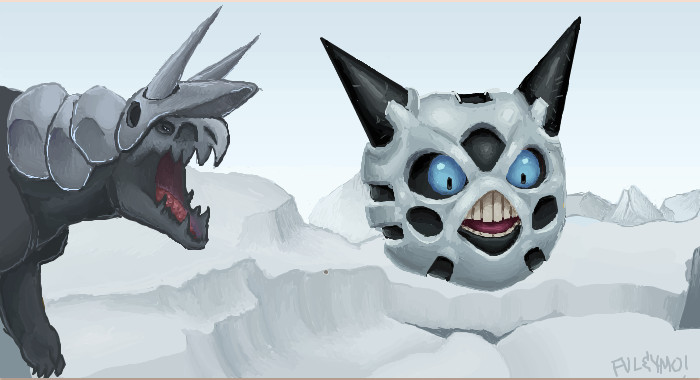Aggron chasing Glalie by umbbe 700x380