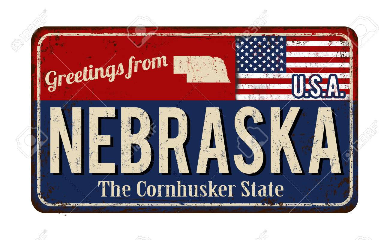 Greetings From Nebraska Vintage Rusty Metal Sign On A White 1300x800