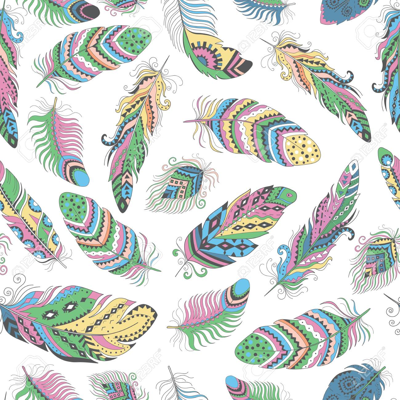 Feathers Boho Seamless Pattern Tribal Ethnic Background Texture 1300x1300