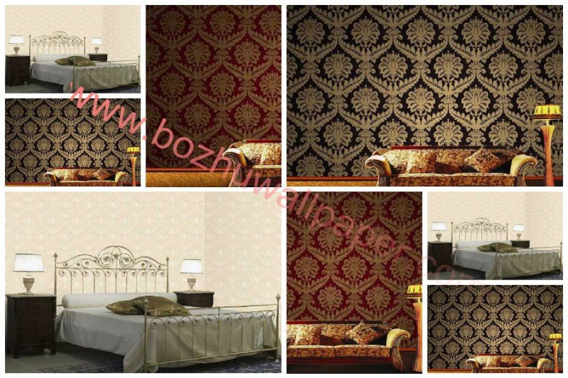 Modern Design Italian Style Deep Embossed Chinese PVC Wallpaper 800x533