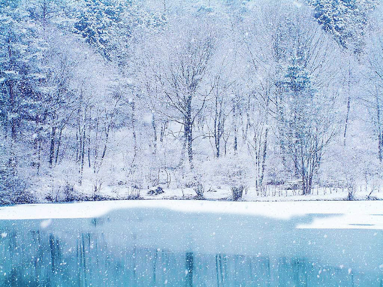 Christmas winter wallpaper ice lake Urban Art Wallpaper 1280x960