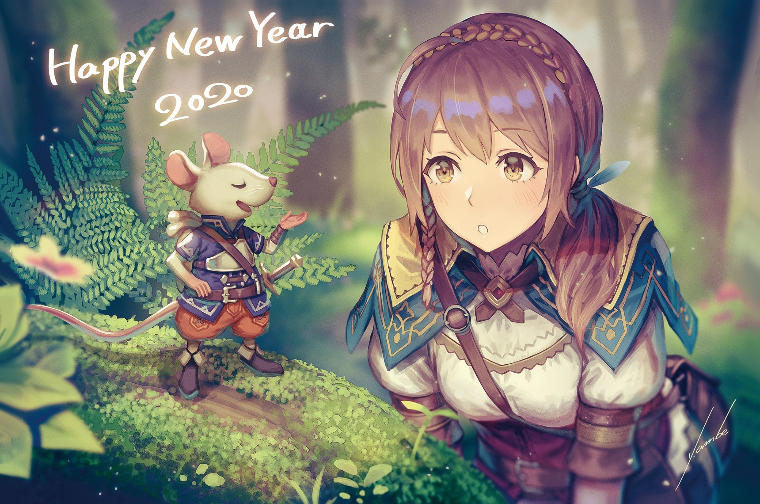 Download 2560x1700 Anime Girl Adventurer Forest Light Armor 2560x1700