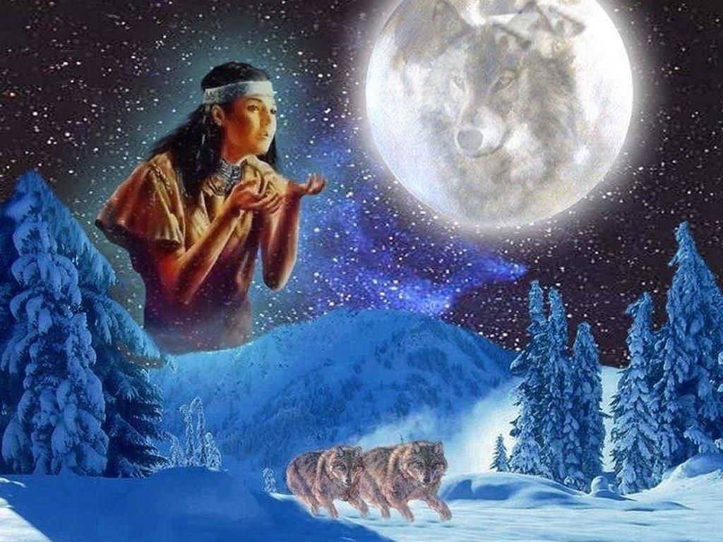 Native American Indian Wolf Spirit Wallpaper 1024x768