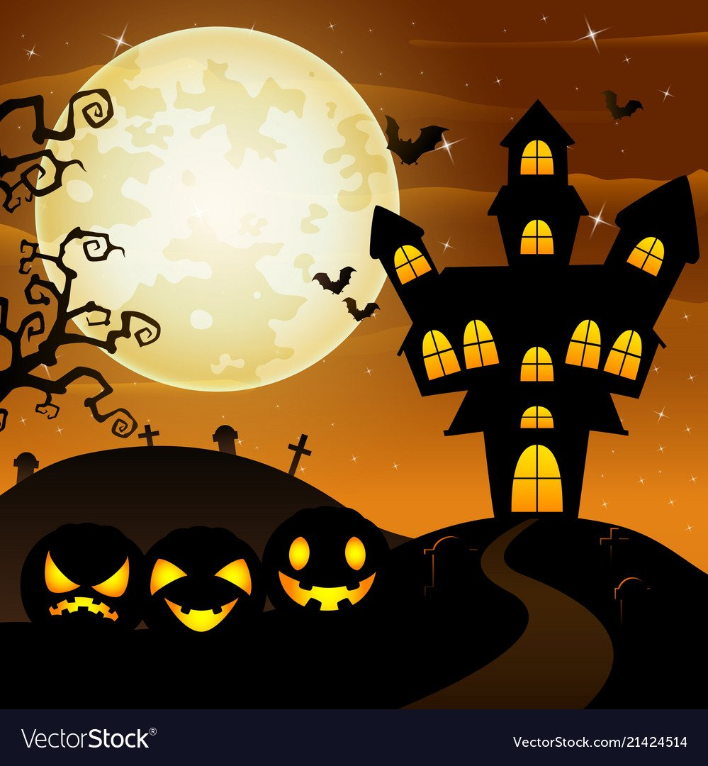 Halloween background with cartoon black pumpkins c 999x1080