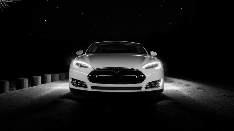 Free Download White Tesla Front Hd Wallpaper Wallpaperfx