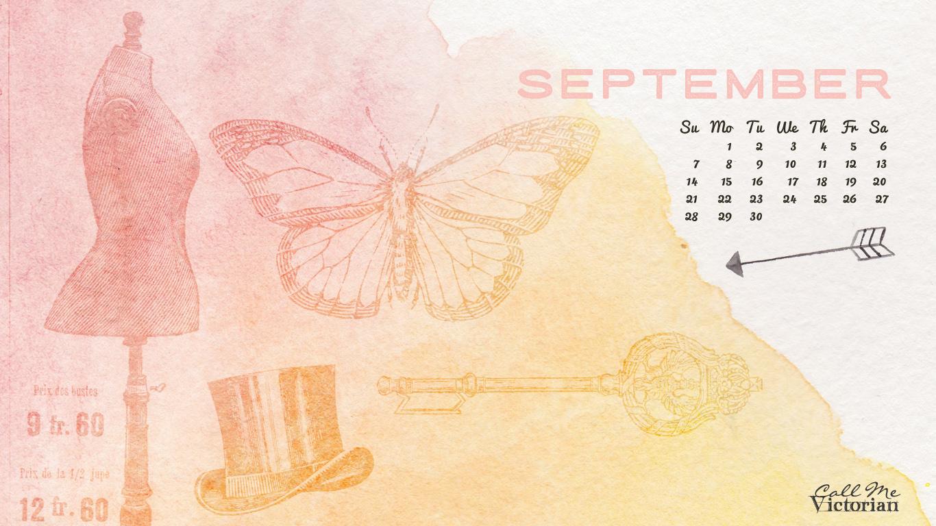 September 2014 Desktop Calendar Wallpaper Call Me Victorian 1366x768