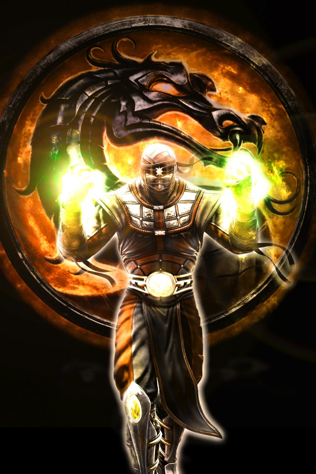 mortal kombat character dragon magic fire 640x960