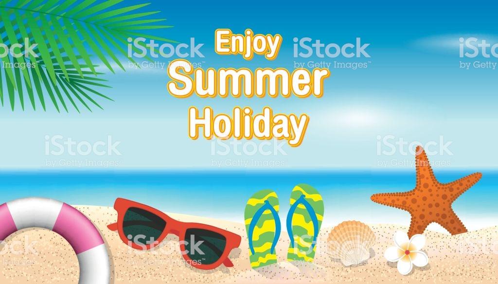 Enjoy Summer Holiday Background Lifebuoy Sunglasses Starfish Shell 1024x585