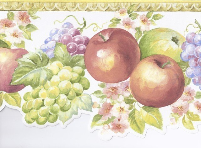 Molding Fruits Floral Wallpaper Border Roll   Traditional   Wallpaper 640x472