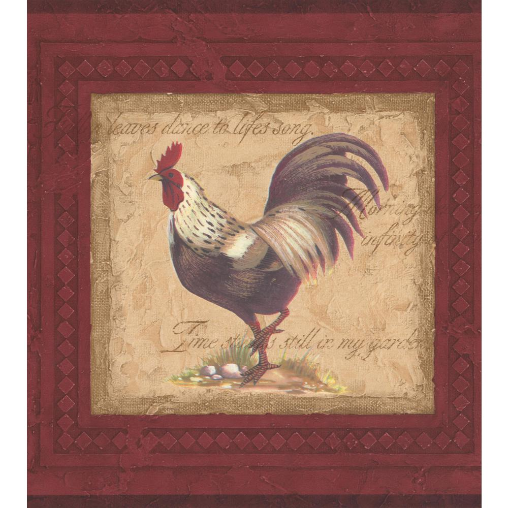 Retro Art Vintage Rooster Paintings on Red Wall Extra Wide 1000x1000