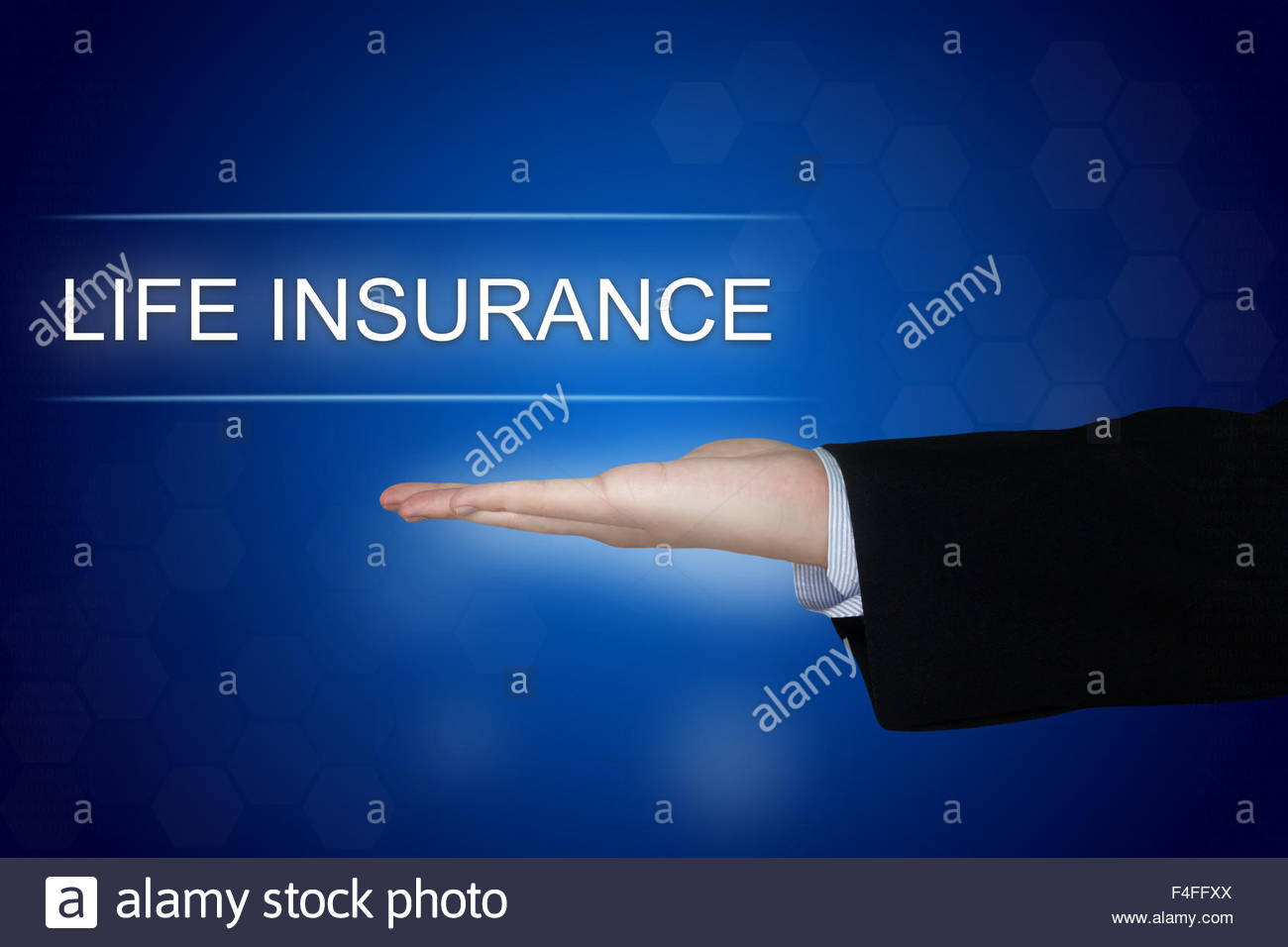 life insurance button with business hand on blue background Stock 1300x956