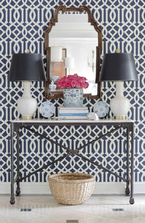Navy Trellis Wallpaper   Transitional   entrancefoyer   Jessica 483x740