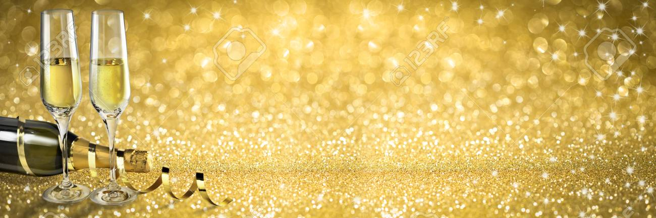 Toast Champagne Banner Golden Glitter Background Stock Photo 1300x433