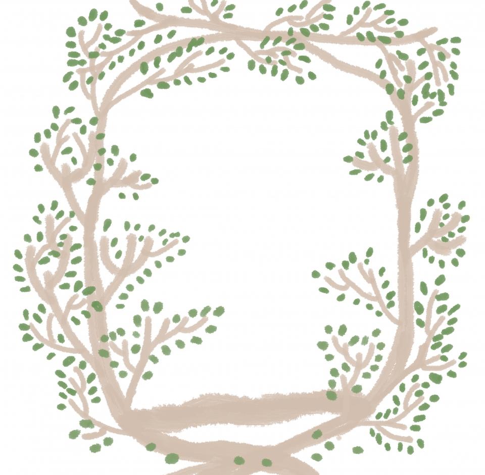 Creative Hand Drawn Fresh Branches Wreath Background Branch Ring 960x941