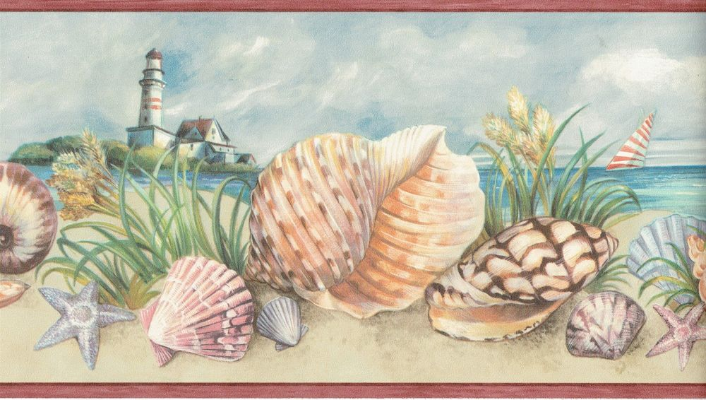 Sea Shells on Beach and Starfish with Lighthouse Wallpaper Border Wall 1000x566