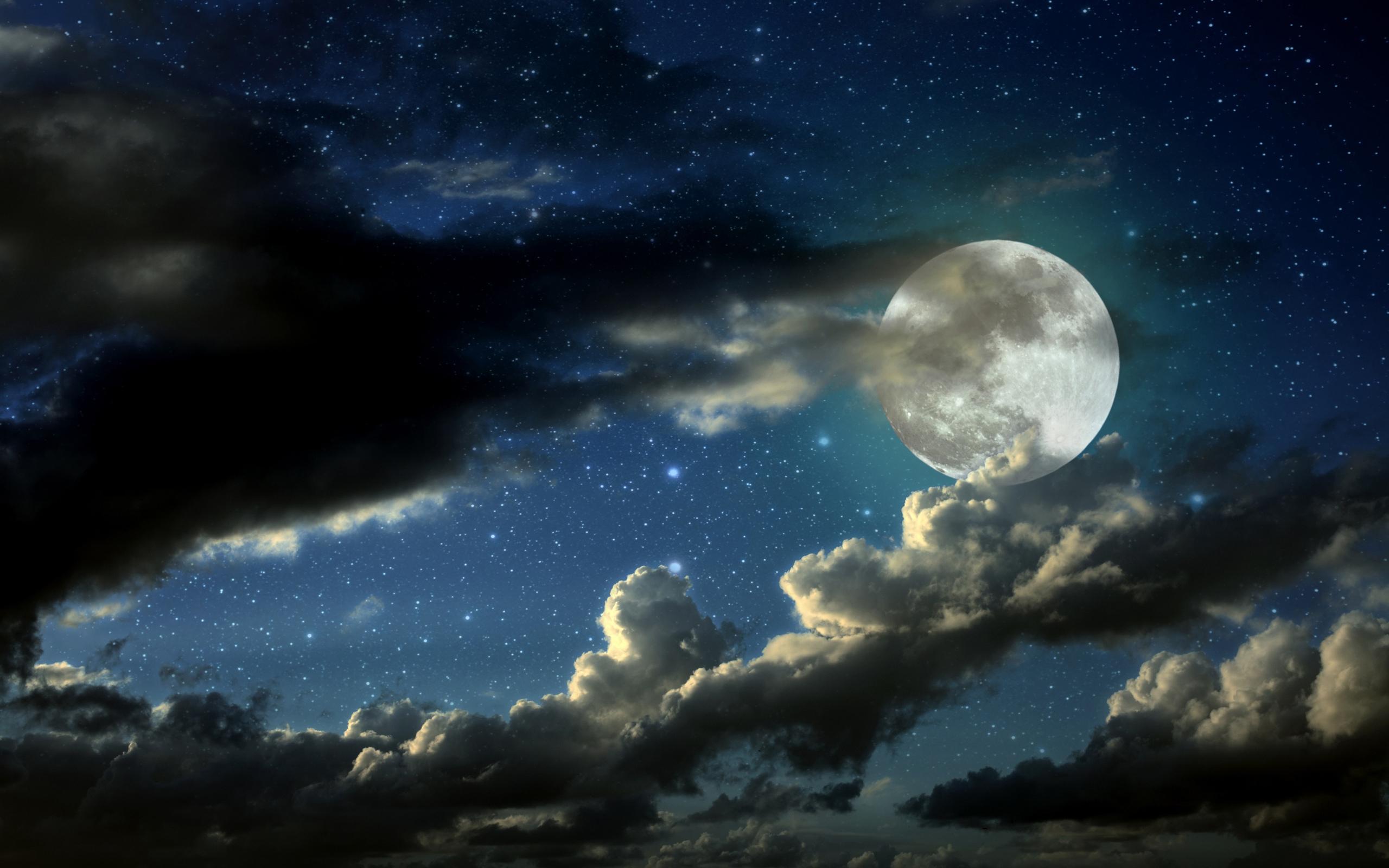 Nature HD Wallpapers Night Sky Moon Stars Clouds Wallpaper 2560x1600