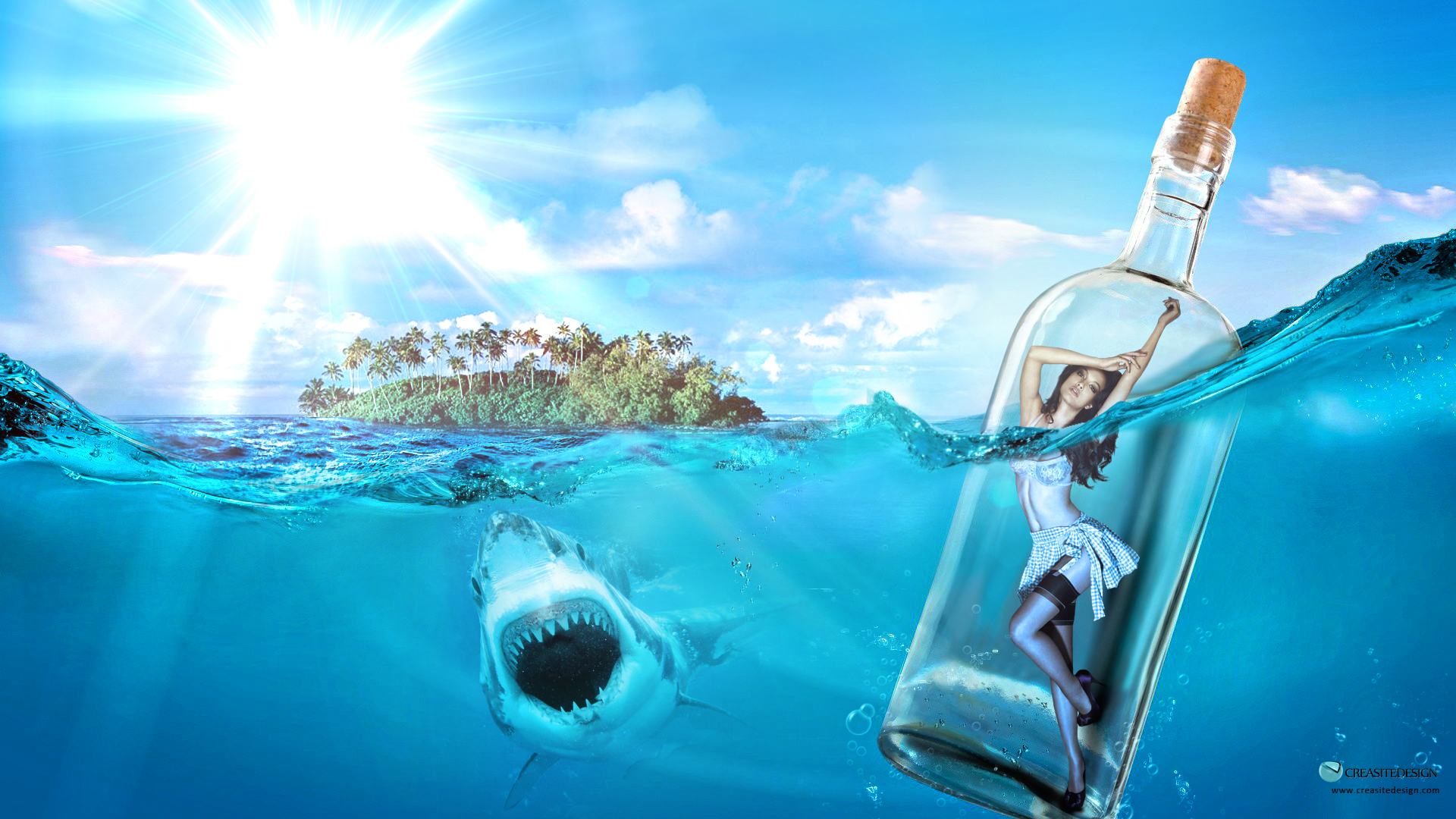 Girl In Water Bottle On Island ArtWork Wallpaper in high Quality Water 1920x1080