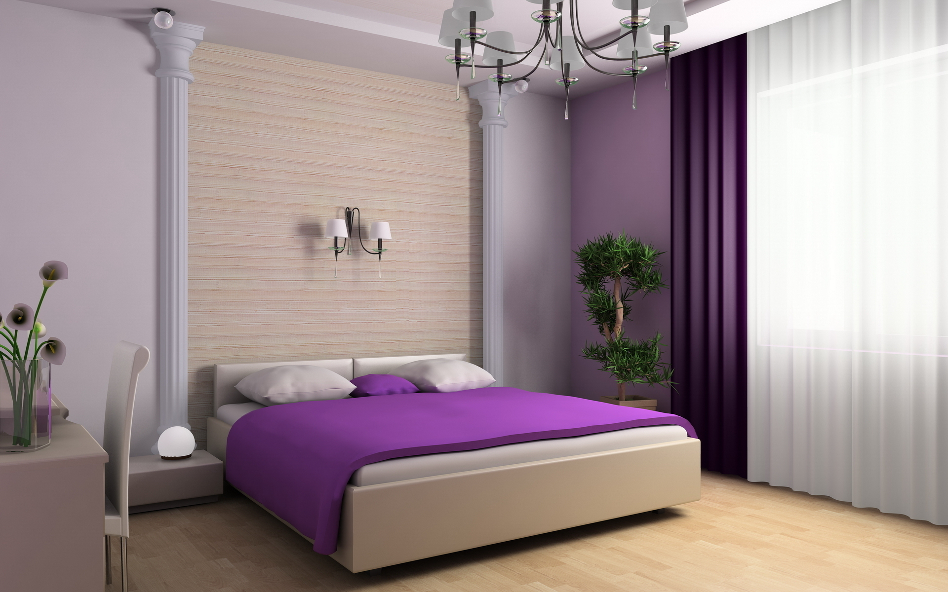 Purple Bedroom wallpapers and images 1920x1200