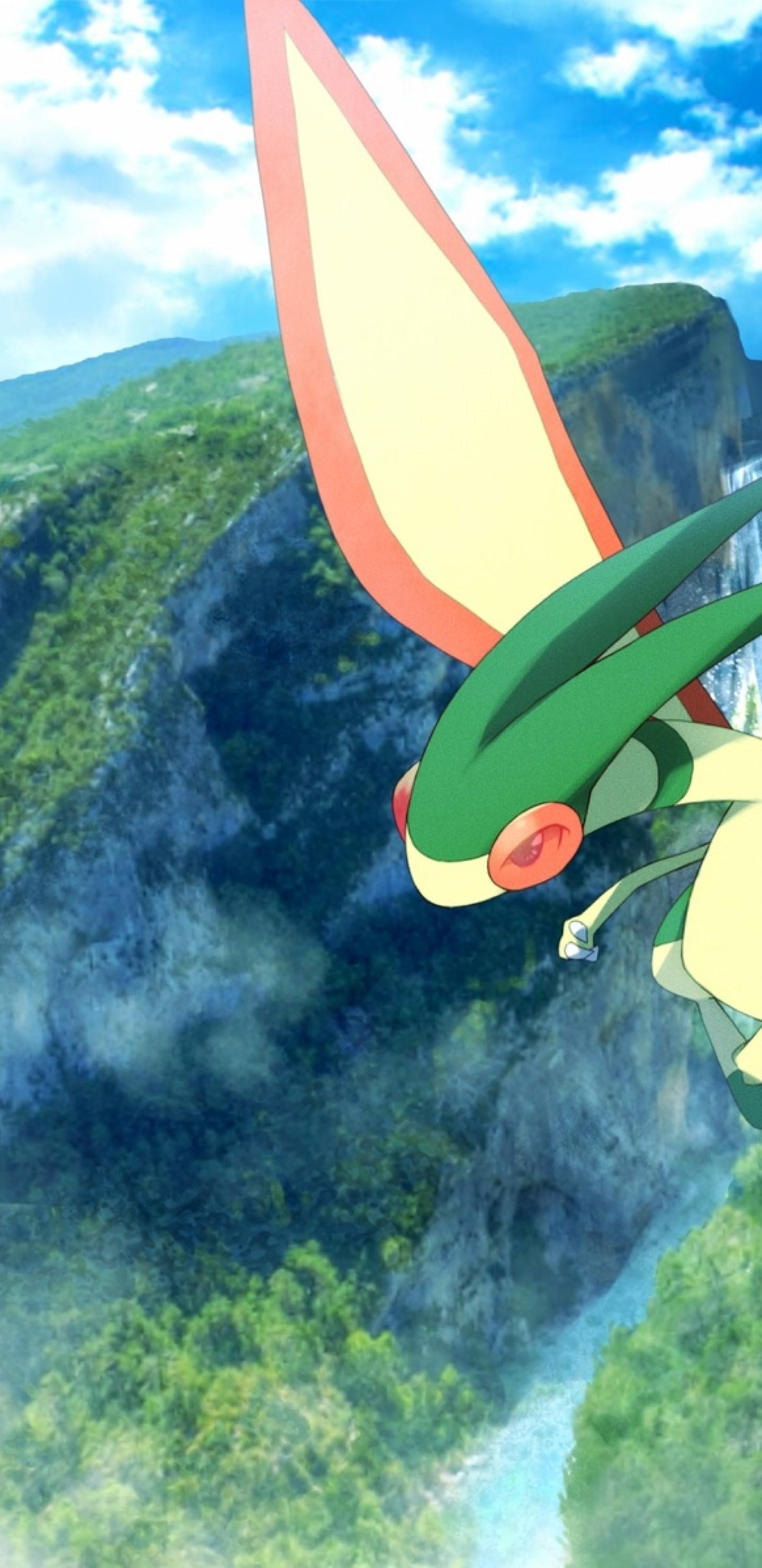 Download 1440x2960 Pokemon Flygon Waterfall Mountains Trees 1440x2960
