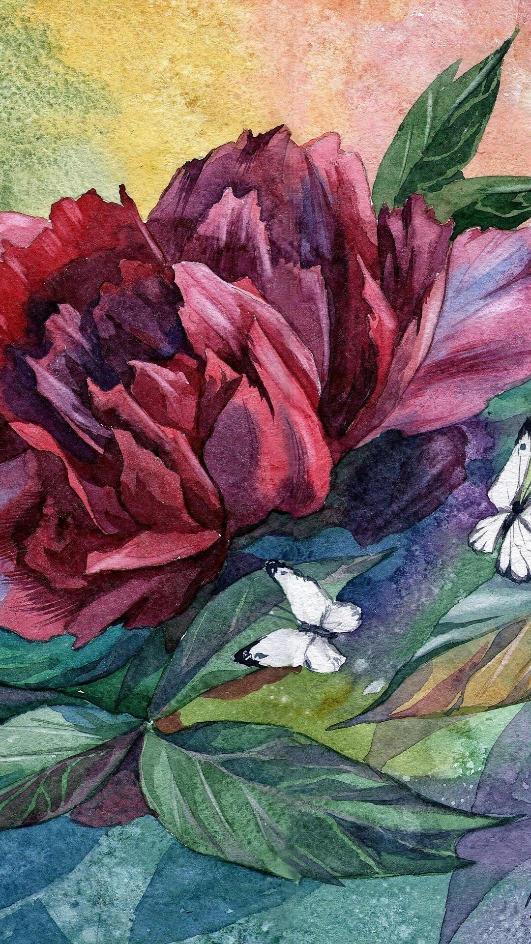 Free Download Nature Flowers Leaves Artwork Watercolor Peony Butterflies Wallpaper 1080x1920 For Your Desktop Mobile Tablet Explore 41 Watercolor Peony Wallpaper Peony Wallpaper Unusual Wallpapers For The Home Unusual