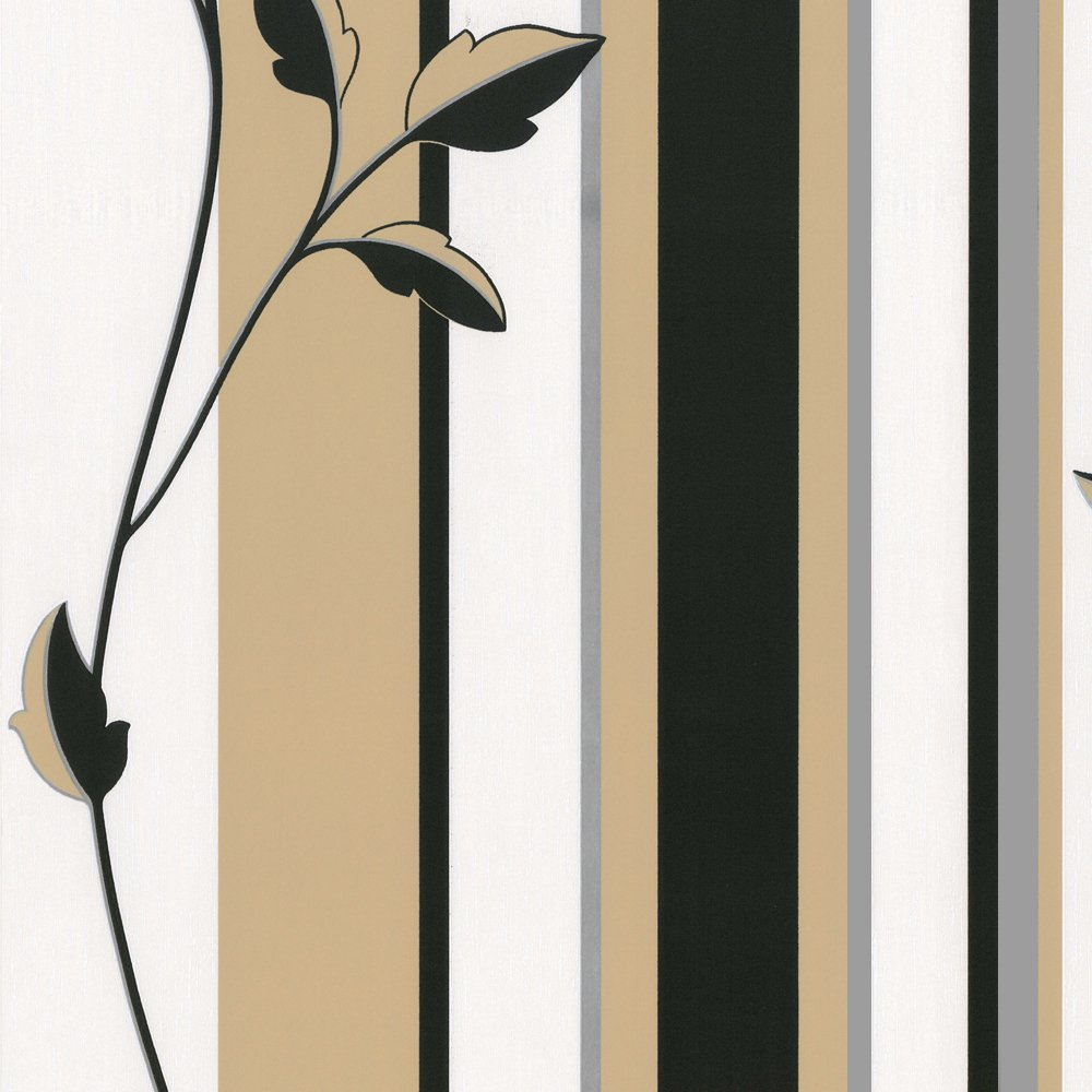 Erismann Savanna Stripe Wallpaper Black Olive Beige Silver Cream 1000x1000