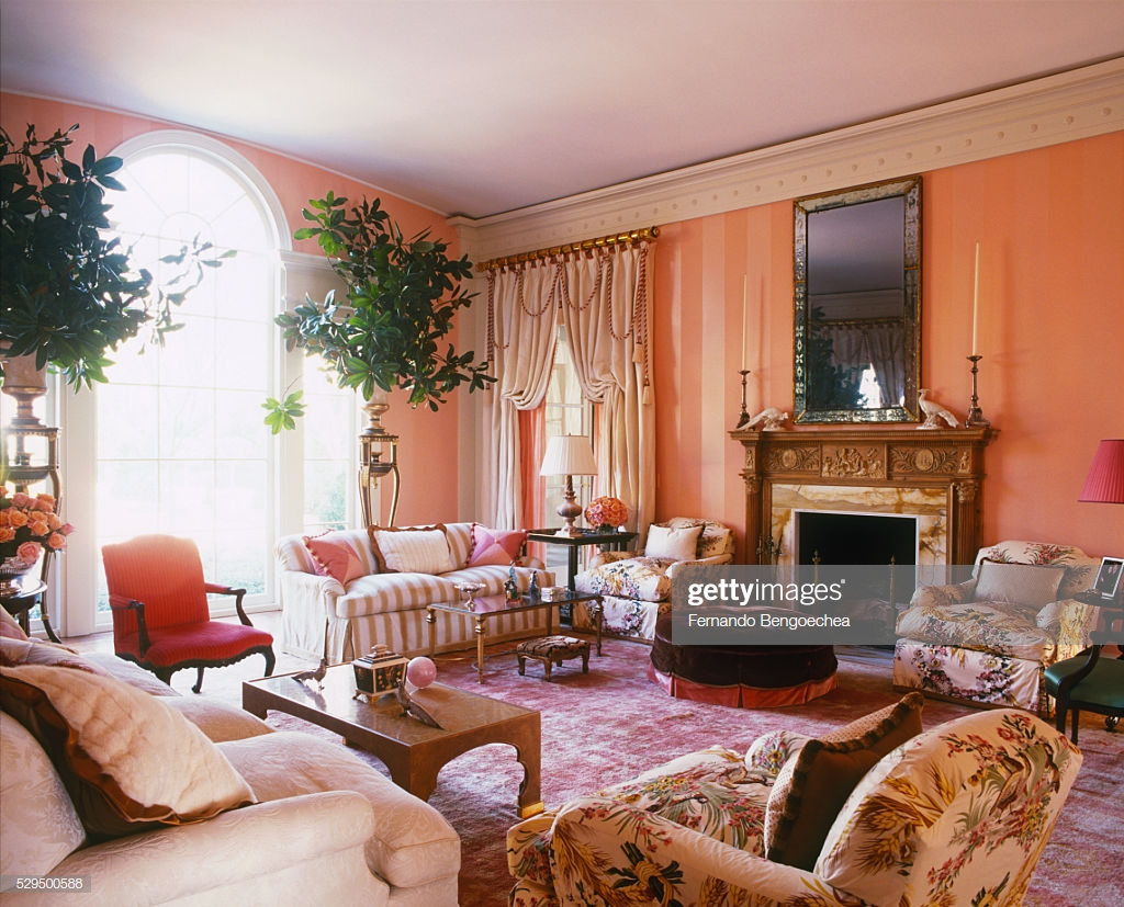 Palladian Window In Living Room With Striped Pink Wallpaper Stock 1024x827