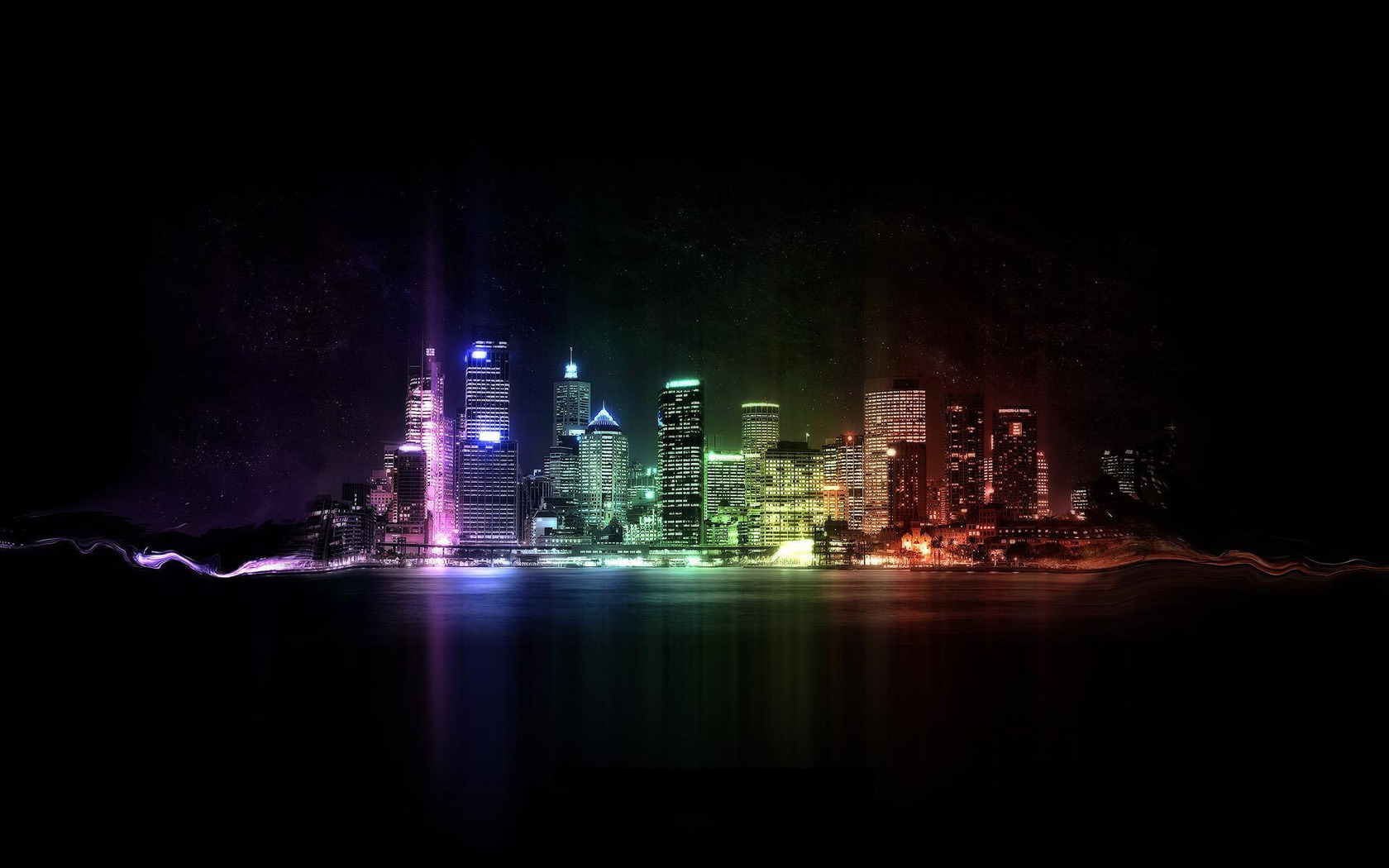 Neon city lights Widescreen Wallpaper   4578 1680x1050