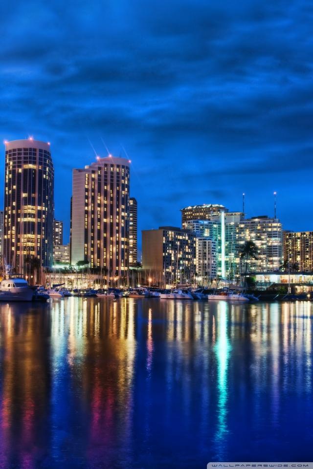 Waikiki Skyline At Night 4K HD Desktop Wallpaper for 4K Ultra 640x960