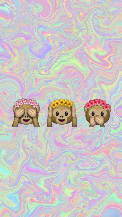 Free Download Monkey Emoji Tumblr Wallpaper We Heart It 500x888