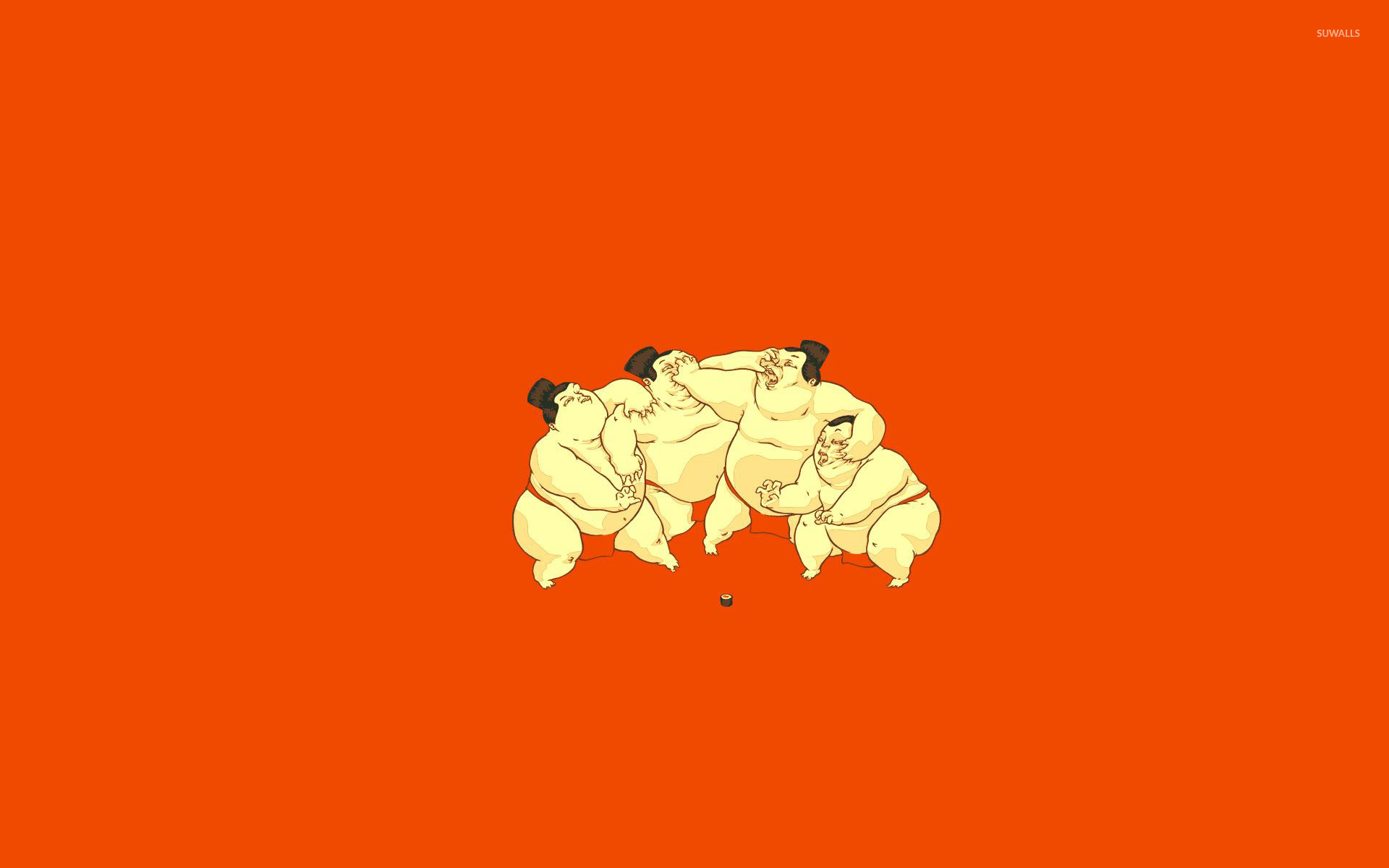 Sumo wrestlers fighting for sushi wallpaper   Funny wallpapers 1920x1200