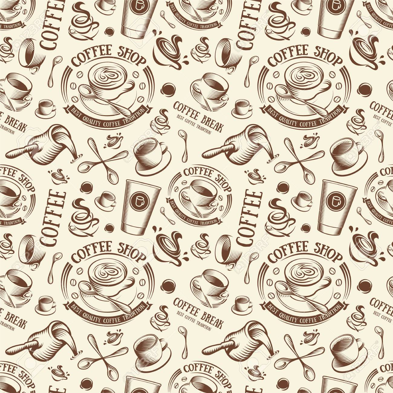Isolated Brown Color Cup In Retro Style Background Coffee Shop 1300x1300