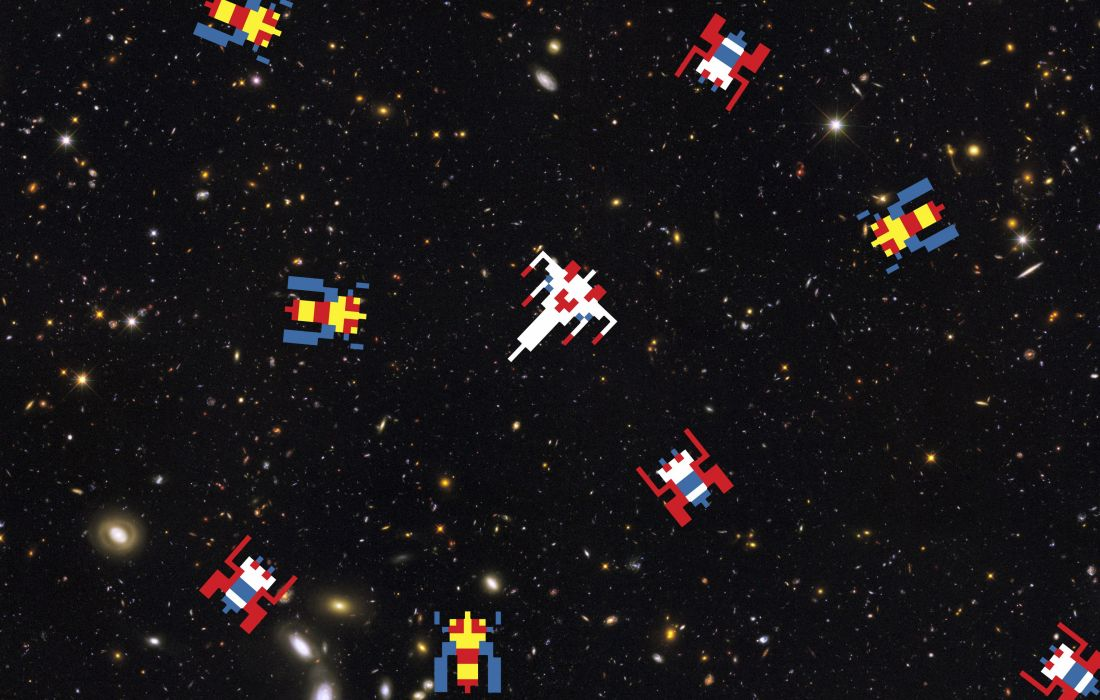 GALAGA sci fi arcade shooter spaceship action atari wallpaper 1100x700