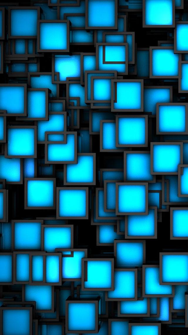 3D Blue Neon Cubes Wallpaper   iPhone Wallpapers 640x1136