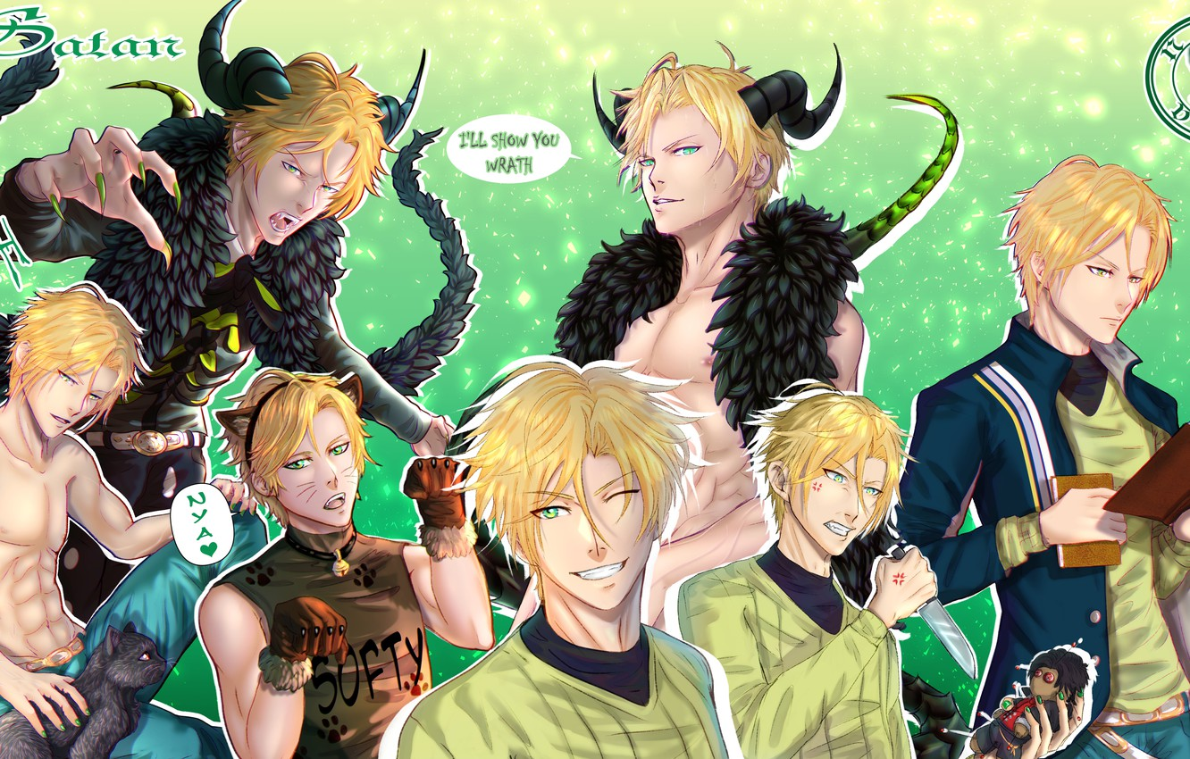 Wallpaper cat collage the game the demon guy Satan Obey Me 1332x850